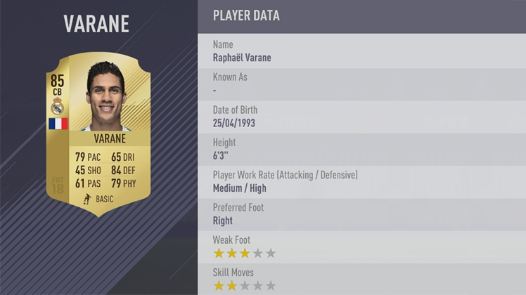 VARANE FIFA 18 PLAYER RATING QSH QUICKSTOPHICKS #FIFA18