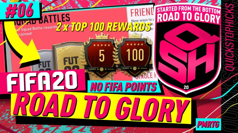 FIFA 20 ROAD TO GLORY TOP 100 SQUAD BATTLES REWARDS YOUTUBE VIDEO FIFA 20 ULTIMATE TEAM ROAD TO GLORY EPISODE QUICKSTOPHICKS EPISODE 6