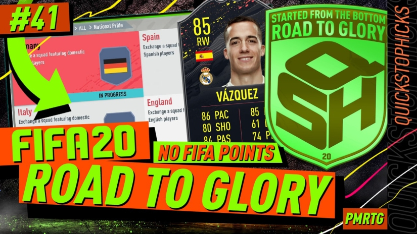 FIFA 20 ROAD TO GLORY YOUTUBE VIDEO FIFA 20 ULTIMATE TEAM ROAD TO GLORY EPISODE 41 QUICKSTOPHICKS STORYLINE VAZQUEZ UNLOCKED NATIONAL PRIDE ADVANCED SBC COMPLETED