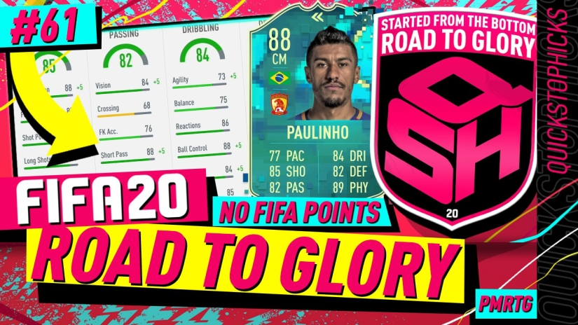 FIFA 20 ROAD TO GLORY YOUTUBE VIDEO FIFA 20 ULTIMATE TEAM ROAD TO GLORY EPISODE 61 QUICKSTOPHICKS FLASHBACK PAULINHO SBC COMPLETED