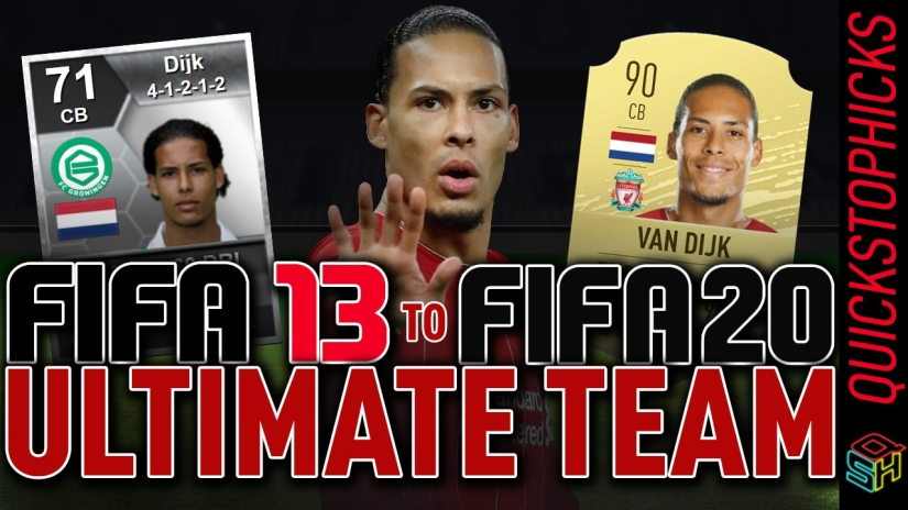 VIRGIL VAN DIJK FUT HISTORY VAN DIJK FIFA GENERATIONS FROM FIFA 13 TO FIFA 20 ALL VAN DIJK ULTIMATE TEAM CARDS